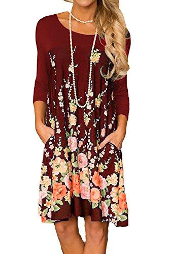 af96d9d311eb Minipeach Women's Floral Print Crew Neck Long Sleeve T-Shirt Dresses With  Pockets