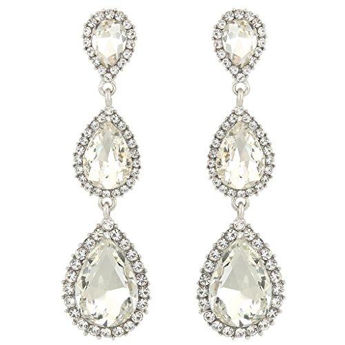 65cb263a1 EleQueen Women's Silver-tone Austrian Crystal Tear Drop Pear Shape Long  Earrings