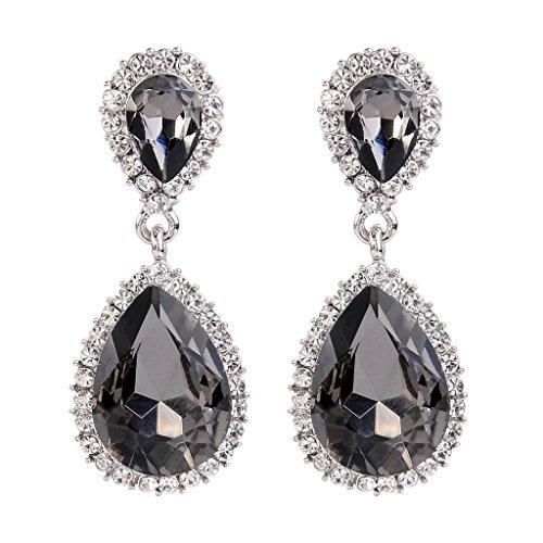 5e6d9ebef EVER FAITH Women's Austrian Crystal Wedding Tear Drop Dangle Earrings Dark  Grey Silver-Tone