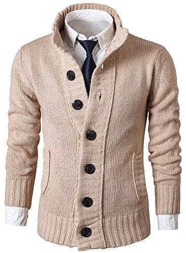 Ohoo Mens Slim Fit Shawl Collar Lightweight Knit Cardigan