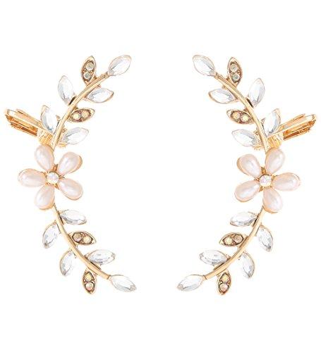 Boderier Ear Crawler Cuff Earrings Crystal Leaf And Flower