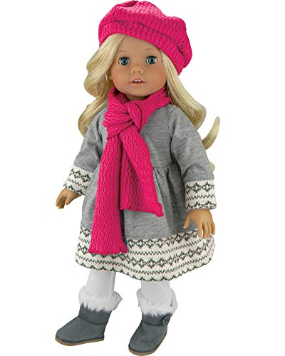 0da6bd5cd69 Doll Clothes 4 Pc. Outfit fit for 18 Inch American Girl Dolls   More! Grey  Fair Isle Style Doll Sweater Dress