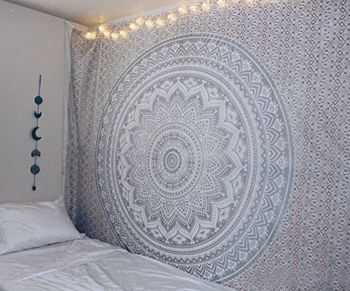 Labhanshi Gray Mandala Tapestry Indian Hippie Wall
