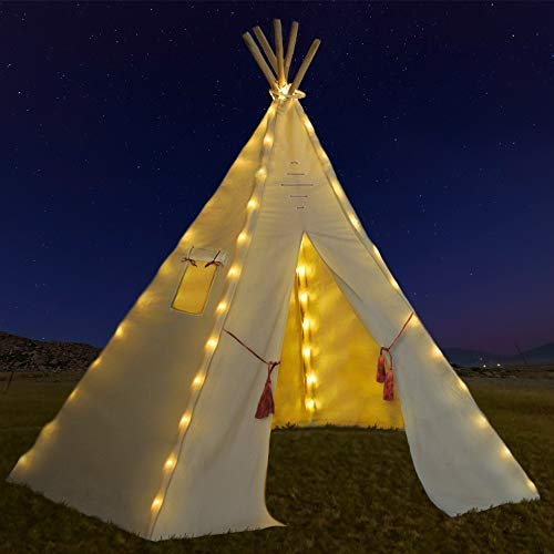 Outree Indoor Teepee Tent For Kids With 5 Wooden Poles And